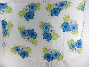 blue flower on white background sarong