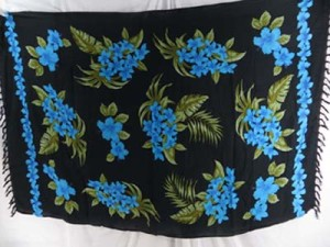 black sarong with blue flower green leaves