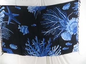 blue black sexy wrap skirt animal sealife ocean kanga