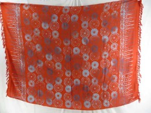 orange red sarong with circles