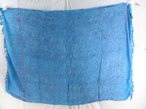 turquoise blue sarong with small branches patterns