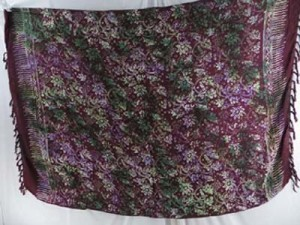 plum color floral sarong with green tie dye