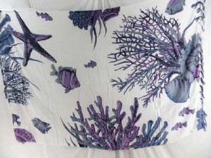 aloha sarongs purple grey sealife seaweeds on white background