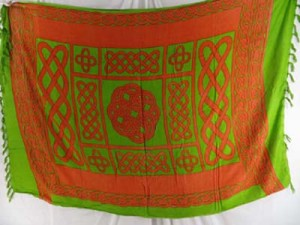 orange green celtic sarong cruise beach sarong