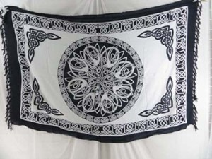 black and white Celtic symbol knots mandala altar clothes, sarong wrap, wall art hanging