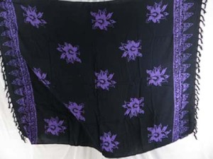 black and purple double process sarongs from Bali, hand stamped prints with fish, sealife, sun, flower etc tropical designs mixed designs randomly picked by our warehouse staffs
