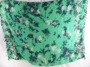 monocolor green sarong hand stamped prints with leaves, sun, dolphin, seashell, palm leaves etc tropical designs mixed designs randomly picked by our warehouse staffs