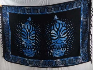double face blue black sarong