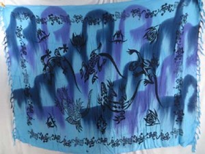 tie dye blue purple tribal lizard sarong