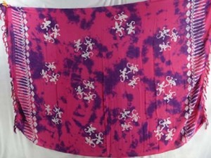 monocolor plum red sarong hand stamped prints with leaves, sun, dolphin, seashell, palm leaves etc tropical designs mixed designs randomly picked by our warehouse staffs