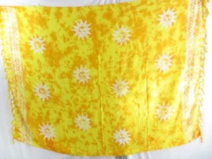 monocolor yellow sarong hand stamped prints with leaves, sun, dolphin, seashell, palm leaves etc tropical designs mixed designs randomly picked by our warehouse staffs