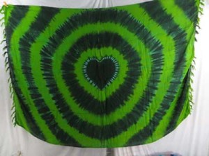 green tie dye swirl heart sarong