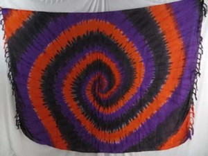 hippie clothing stores tie dye sarongs swirl orange black purple