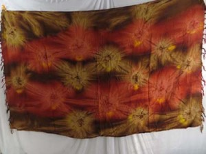 starburst dark red brown tie dye clothing wholesale Mundu Pareau