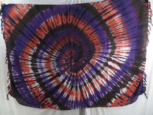 purple orange black swirl tie dye hippie clothing pareo women kanga