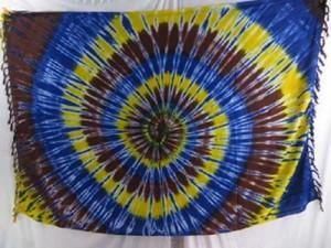 yellow blue brown swirl tiedye sarong garment wholesale tie-dye pareo mundu pareau