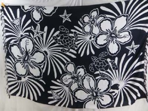 black and white turtle and hibiscus flower sarong