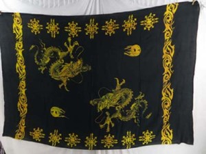 dragon playing pearls yellow black sarong