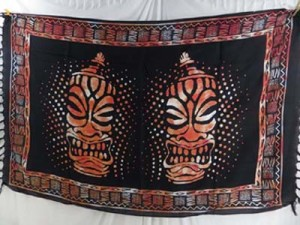 double face orange black sarong