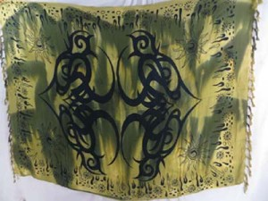 earth green tiedye large tattoo tribal sarong