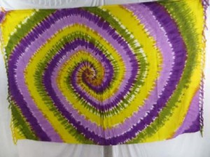 tiedye swirl sarongs green purple yellow