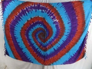 tiedye swirl sarongs red purple turquoise blue