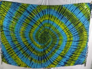 tie dye swirl sarongs blue yellow