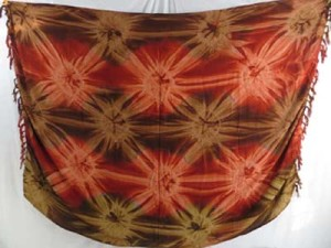 star burst tie dye sarong light brown dark brown