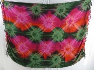 star burst tie dye sarong pink orange green
