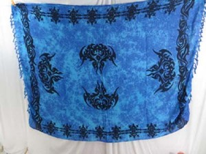 blue sarong beach dresses tattoo punk fashion