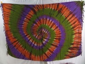 swirl tie dye sarong womens wholesale sarongs, purple orange black or purple orange green