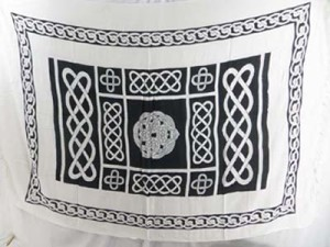 black and white celtic knotwork beach wrap dress