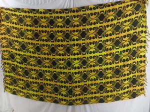 yellow and black geomatric design sarong