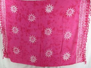 monocolor pink sarong hand stamped prints with leaves, sun, dolphin, seashell, palm leaves etc tropical designs mixed designs randomly picked by our warehouse staffs