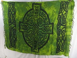 green celtic crosses sarong pareo