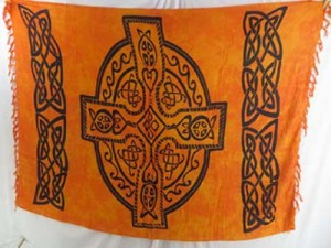 Dragon and Maiden fairy celtic sarong, Wiccan Tapestries, Pagan Wall Hangings Celtic clothing celtic symbols wholesale lava-lava mundu sarong Celtic cross rayon sarong. Celtic cross also named as The Irish Cross, The Irish High Cross  Mixed colors designs randomly picked by our warehouse staffs