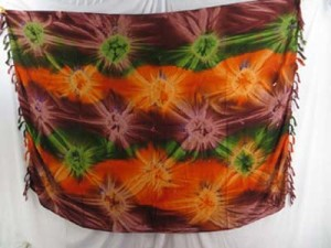 cruise wrap dress womens hippie clothing starburst tiedye sarong green orange brown