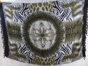 green grey black sarong animal skin print circle in middle