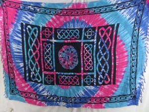 blue pink tie dye swirl celtic wall tapestry sarongs and pareos