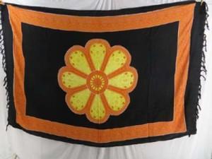 wholesale sarong mundu pareau yellow orange daisy black background