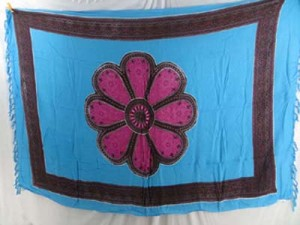 lady resort wear pink daisy blue sarong