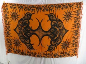 Pagan Wicca wall art shawl sarong orange tattoo