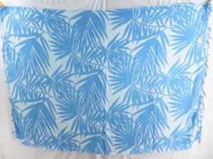 kikoy kikepa lavalava blue palm leaf on white background