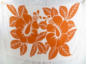 orange white giant hibiscus flower sarong
