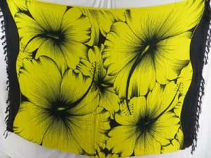 yellow black giant hibiscus flower sarong