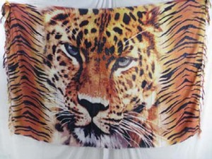 leopard face sarong orange yellow color