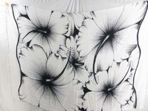 black and white giant hibiscus flower sarong
