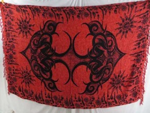 red tribal tattoo kanga sarong