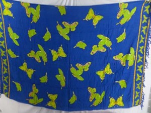 blue sarong with yellow butterflies