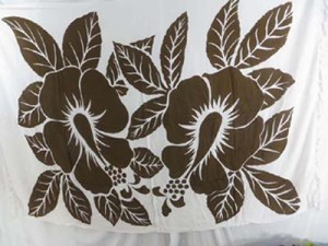 brown giant hibiscus on white background sarong